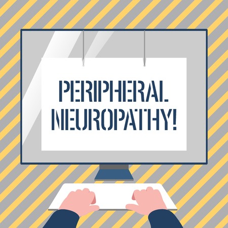 Writing note showing Peripheral Neuropathy. Business concept for condition or disease affecting the peripheral nerves Hands on Keyboard Front White Monitor with Screen Protector Stock Photo
