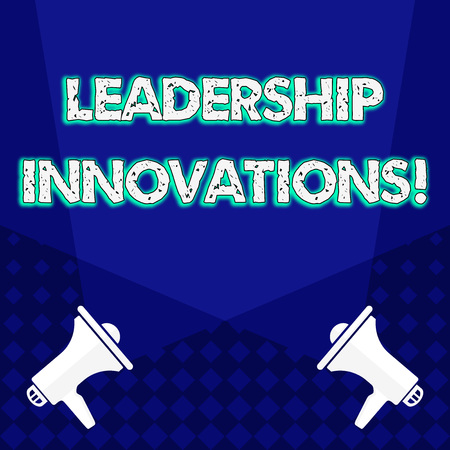 Writing note showing Leadership Innovations. Business concept for Style to impact employees to produce creative ideas Blank Spotlight Crisscrossing Upward Megaphones on the Floor
