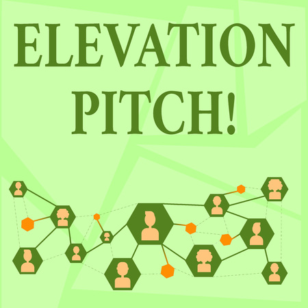 Writing note showing Elevator Pitch. Business concept for short description of product business idea given to investor Chat icons with Avatar Connecting Lines for Networking Idea