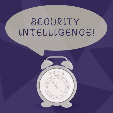 Writing note showing Security Intelligence. Business concept for protecting an organization from threats and risks Speech Balloon Pastel Shade and Colorful Analog Alarm Clock Imagens - 120566476