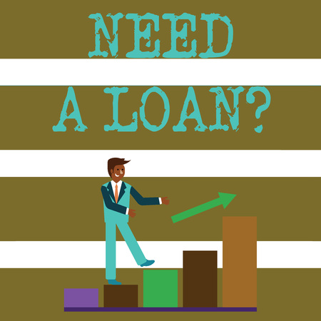 Text sign showing Need A Loan Question. Business photo text asking he need money expected paid back with interest Smiling Businessman Climbing Colorful Bar Chart Following an Arrow Going Up Foto de archivo
