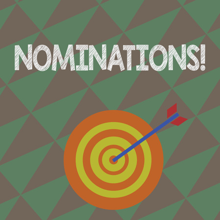 Writing note showing Nominations. Business concept for action of nominating or state being nominated for prize Dart Board in Concentric Style with Arrow Hitting the Center Bulls Eye Imagens