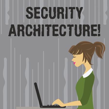 Handwriting text writing Security Architecture. Conceptual photo Focus on information security all over the enterprise photo of Young Busy Woman Sitting Side View and Working on her Laptop