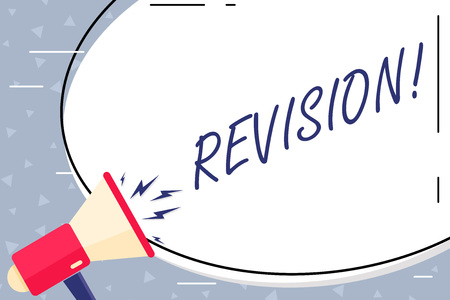Text sign showing Revision. Business photo showcasing action of revising over someone like auditing or accounting Blank White Huge Oval Shape Sticker and Megaphone Shouting with Volume Icon
