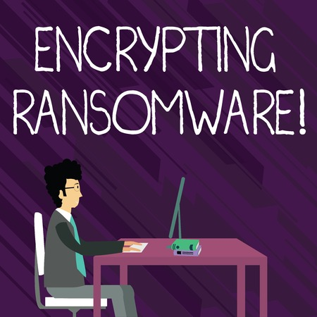 Text sign showing Encrypting Ransomware. Business photo showcasing malware that limits users from accessing their system Businessman Sitting Straight on Chair Working on Computer and Books on Table