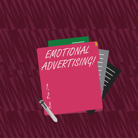 Text sign showing Emotional Advertising. Business photo text persuasion method used to create emotional feedback Colorful Lined Paper Stationery Partly into View from Pastel Blank Folder