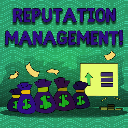 Word writing text Reputation Management. Business photo showcasing Influencing and controlling of ones reputation Colorful Money Bag with Dollar Currency Sign and Arrow with Blank Banknote