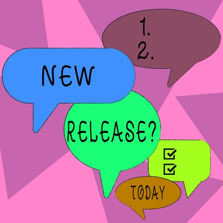 Word writing text New Release Question. Business photo showcasing asking about recent product or service newly unleashed Many Color Speech Bubble in Different Sizes and Shade for Group Discussion Stock Photo