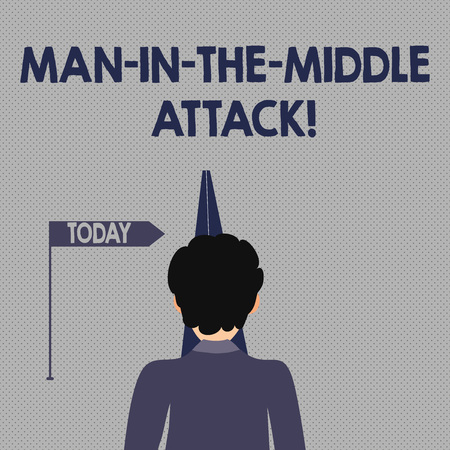 Writing note showing Man In The Middle Attack. Business concept for Communication between two users is monitored Man Facing Distance and Blocking the View of Straight Narrow Path