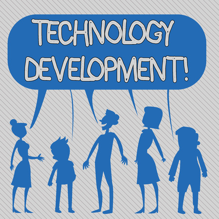 Text sign showing Technology Development. Business photo showcasing Anything in regards to inventions or innovations Silhouette Figure of People Talking and Sharing One Colorful Speech Bubble