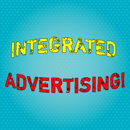 Conceptual hand writing showing Integrated Advertising. Concept meaning Unified experience to consumer to interact with brand Light Beam Glowing on Seamless Blue Pastel Shade Tiny Polka Dots