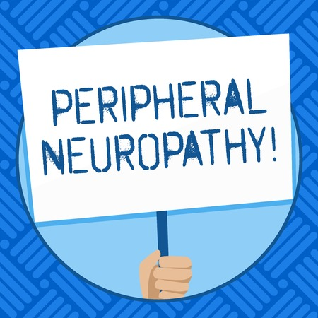 Text sign showing Peripheral Neuropathy. Business photo text condition or disease affecting the peripheral nerves Hand Holding Blank White Placard Supported by Handle for Social Awareness Stock Photo