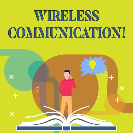 Conceptual hand writing showing Wireless Communication. Concept meaning Communicating between devices using a wireless signal Man Standing Behind Open Book Jagged Speech Bubble with Bulb