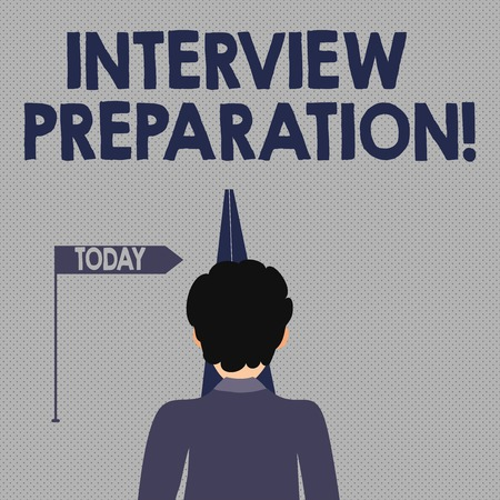 Writing note showing Interview Preparation. Business concept for Candidate getting ready for the employer job dialogue Man Facing Distance and Blocking the View of Straight Narrow Path