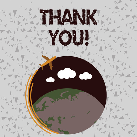 Word writing text Thank You. Business photo showcasing polite expression used when acknowledging gift service compliment Airplane with Moving Icon Flying Around Colorful Globe and Blank Text Space Stock Photo