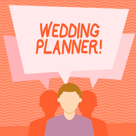 Text sign showing Wedding Planner. Business photo text professional who assists with design planning and analysisagement Faceless Man has Two Shadows Each has Their Own Speech Bubble Overlapping Banque d'images