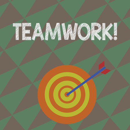 Writing note showing Teamwork. Business concept for combined action of group especially when effective and efficient Dart Board in Concentric Style with Arrow Hitting the Center Bulls Eye