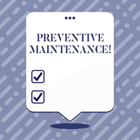 Signe texte montrant la maintenance préventive. Photo d'entreprise présentant l'entretien de routine pour aider à maintenir l'équipement en place de l'espace vide Ballon blanc flottant avec trois trous perforés sur le dessus