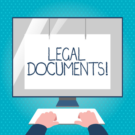 Text sign showing Legal Documents. Business photo text states some contractual relationship or grants some right Hands on Mockup Keyboard Front of Blank White Monitor with Screen Protector