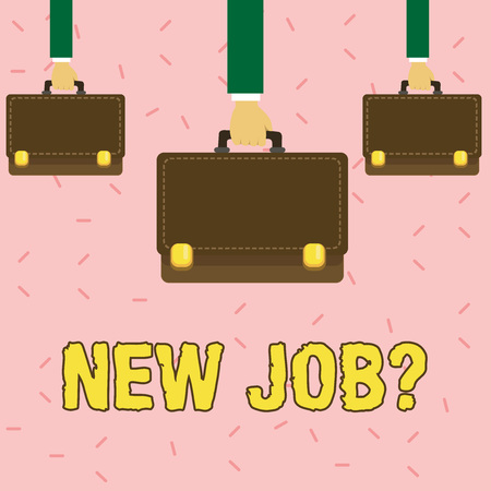 Text sign showing New Job Question. Business photo showcasing formal meeting which someone asked find out if they are suitable Three Men Hands Carrying Brown Briefcase with Running Stitch Style and Lo