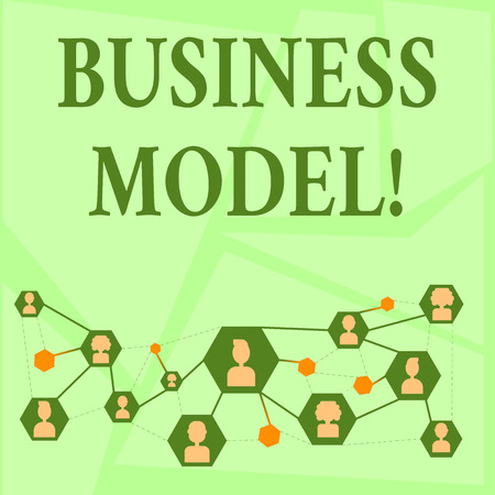 Writing note showing Business Model. Business concept for plan for successful operation of business identifying revenue Chat icons with Avatar Connecting Lines for Networking Idea