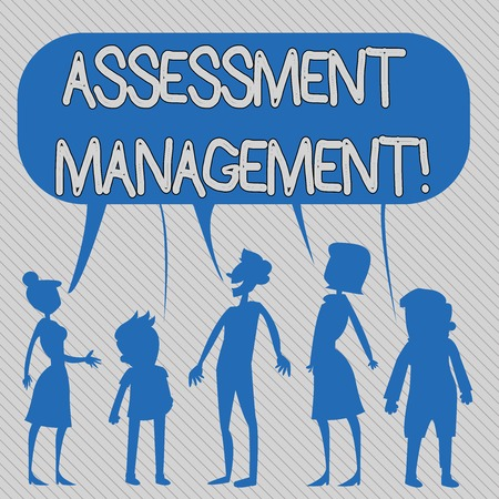 Text sign showing Assessment Management. Business photo showcasing analysisagement of investments on behalf of others Silhouette Figure of People Talking and Sharing One Colorful Speech Bubble 版權商用圖片