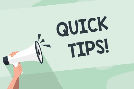 Word writing text Quick Tips. Business photo showcasing small but particularly useful piece of practical advice Human Hand Holding Tightly a Megaphone with Sound Icon and Blank Text Space