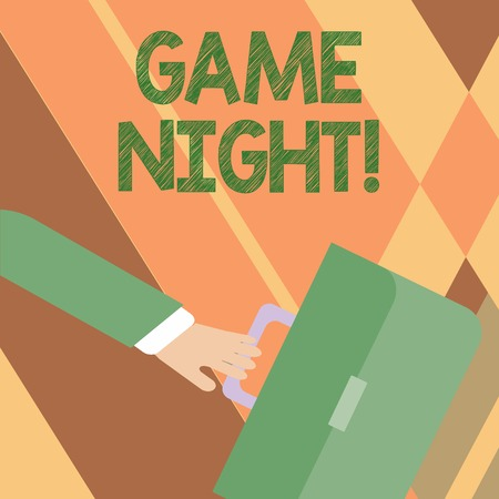 Writing note showing Game Night. Business concept for usually its called on adult play dates like poker with friends Rushing Businessman Swayed Farther Back and Holding Briefcase