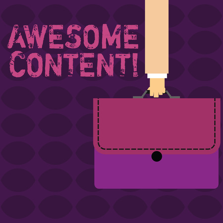 Handwriting text Awesome Content. Conceptual photo you are satisfied and happy about what book move contain Businessman Hand Carrying Colorful Briefcase Portfolio with Stitch Applique