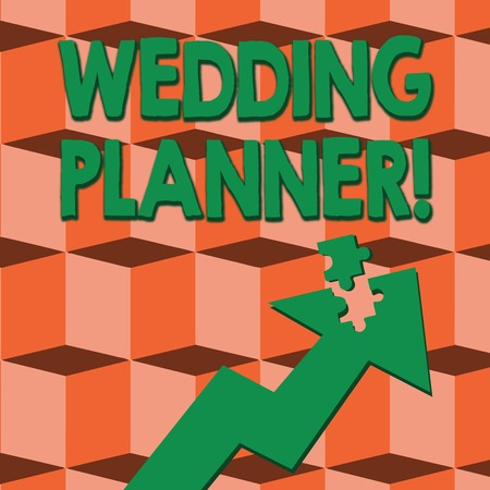 Word writing text Wedding Planner. Business photo showcasing professional who assists with design planning and analysisagement Colorful Arrow Pointing Upward with Detached Part Like Jigsaw Puzzle Piece