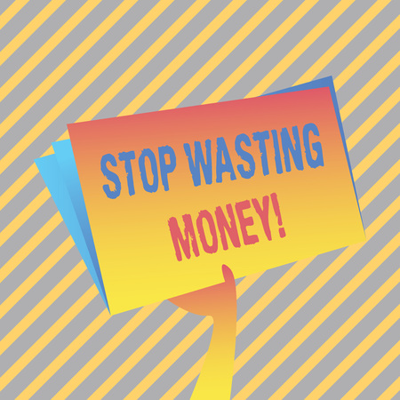 Writing note showing Stop Wasting Money. Business concept for advicing demonstrating or group to start saving and use it wisely Hand Holding Blank Space Color File Folder with Sheet Inside