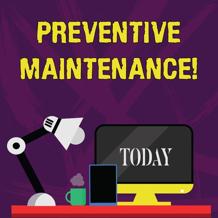 Word writing text Preventive Maintenance. Business photo showcasing Routine maintenance to help keep equipment up Arrangement of Workspace for Nightshift Worker with Computer,Tablet and Lamp