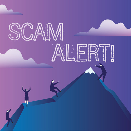 Word writing text Scam Alert. Business photo showcasing fraudulently obtain money from victim by persuading him Business People Climbing Color Mountain by Themselves Holding Invisible Rope