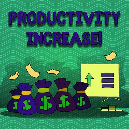 Word writing text Productivity Increase. Business photo showcasing Labor productivity growth More output from worker Colorful Money Bag with Dollar Currency Sign and Arrow with Blank Banknote 스톡 콘텐츠
