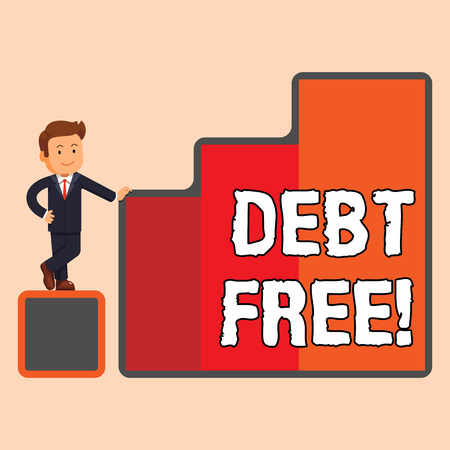 Handwriting text Debt Free. Conceptual photo does not owning any money or things to any individual or companies Happy Businessman Presenting Growth and Success in Rising Bar Graph Columns