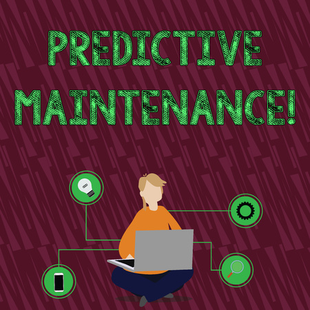 Handwriting text Predictive Maintenance. Conceptual photo maintenance strategy driven by predictive analytics Woman Sitting Crossed Legs on Floor Browsing the Laptop with Technical Icons