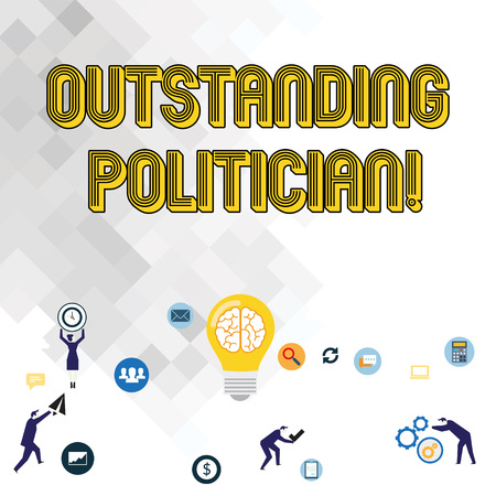 Text sign showing Outstanding Politician. Business photo showcasing Having good character of a great leader of a society Business Digital Marketing Symbol, Element, Campaign and Concept Flat Icons Stock Photo