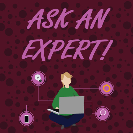 Text sign showing Ask An Expert. Business photo showcasing confirmation that have read understand and agree with guidelines Woman Sitting Crossed Legs on Floor Browsing the Laptop with Technical Icons Reklamní fotografie