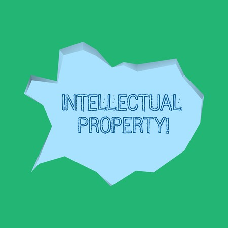 Word writing text Intellectual Property. Business photo showcasing Ownership of an idea or design by the demonstrating Blank Pale Blue Speech Bubble in Irregular Cut Edge Shape 3D Style Backdrop Stock Photo - 120570179