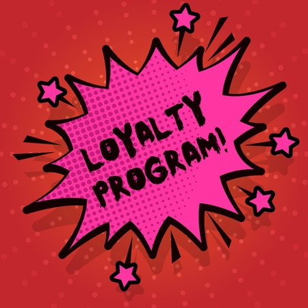 Writing note showing Loyalty Program. Business concept for structured marketing provides incentives repeat customers Spiky Fight and Screaming Angry Speech Bubble with Outline