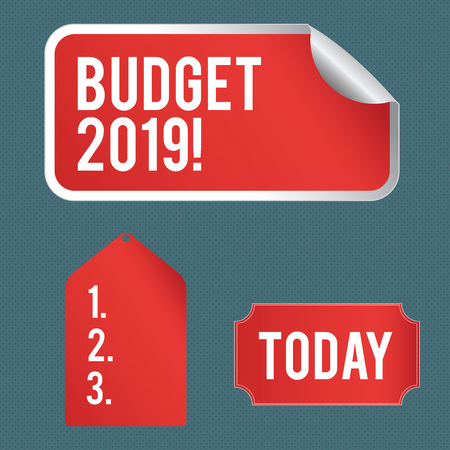 Writing note showing Budget 2019. Business concept for estimate of income and expenditure for current year Color Label Self Adhesive Sticker with Border Corner and Tag