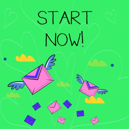 Conceptual hand writing showing Start Now. Concept meaning do not hesitate get working or doing stuff right away Colorful Airmail Letter Envelopes and Two of Them with Wings Imagens