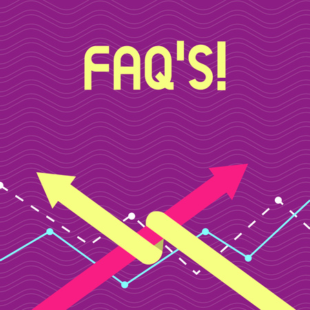 Text sign showing Faq's. Business photo text list of questions and answers relating to particular subject Two Arrows where One is Intertwined to the other as Team Up or Competition