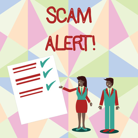 Text sign showing Scam Alert. Business photo text fraudulently obtain money from victim by persuading him Man and Woman in Business Suit Presenting Report of Check and Lines on Paper Stock Photo