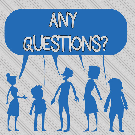 Text sign showing Any Questions . Business photo showcasing Something that you say in order to ask a demonstrating Silhouette Figure of People Talking and Sharing One Colorful Speech Bubble