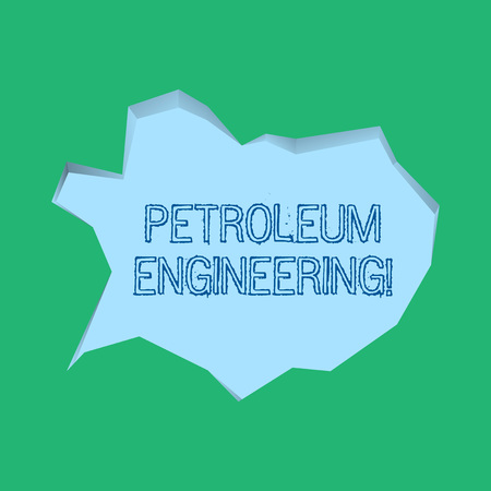 Word writing text Petroleum Engineering. Business photo showcasing Activities related to the production of hydrocarbons Blank Pale Blue Speech Bubble in Irregular Cut Edge Shape 3D Style Backdrop Stockfoto
