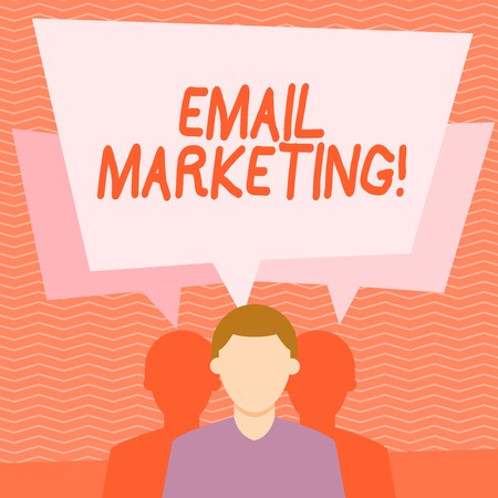 Text sign showing Email Marketing. Business photo text act of sending commercial message typically group of showing Faceless Man has Two Shadows Each has Their Own Speech Bubble Overlapping