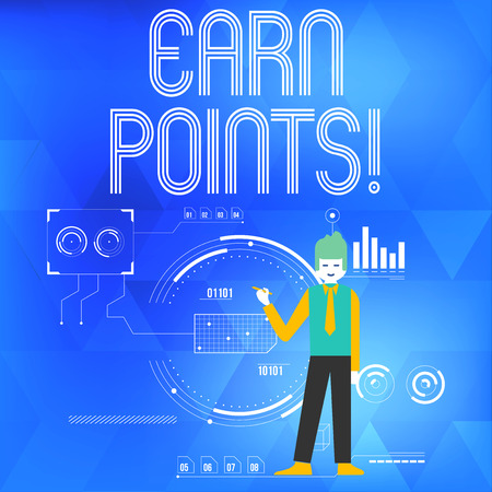 Text sign showing Earn Points. Business photo showcasing collecting scores in order qualify to win big prize Man Standing Holding Pen Pointing to Chart Diagram with SEO Process Icons Stock Photo