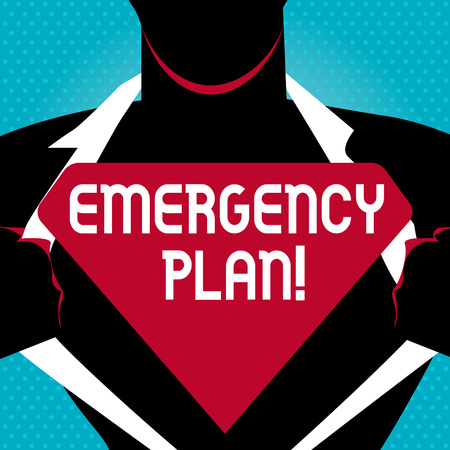 Text sign showing Emergency Plan. Business photo text actions developed to mitigate damage of potential events Man in Pose Opening his Shirt to reveal the Blank Triangular