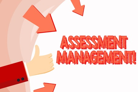 Handwriting text Assessment Management. Conceptual photo analysisagement of investments on behalf of others Hand Gesturing Thumbs Up and Holding on Blank Space Round Shape with Arrows 版權商用圖片